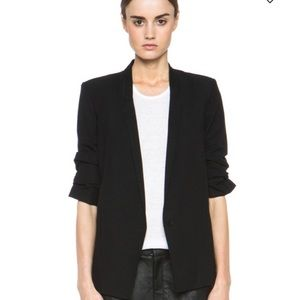 helmut lang black blazer with ruched sleeves